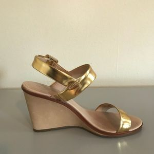 Kate Spade Gold Strapped Wedges